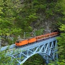 ≪トロッコ電車≫最も峻険な谷に架かる後曳橋を進む。