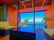 露天風呂付き客室、バルコニー