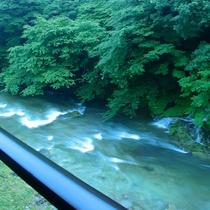 館から渓流を望む