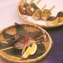 炭焼きの岩魚と田楽