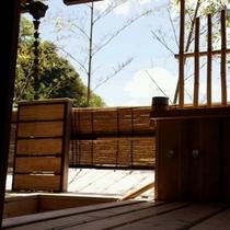 八幡檜露天風呂から青空クリアー500×500