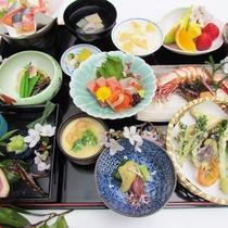 【夕食一例】梅会席。ゆっくり旬の味覚をご賞味下さい
