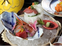 【造り】3種盛り 神戸牛と鯛の握り