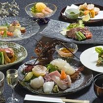 【ご夕食一例】豪華な食材を使用した和洋折衷懐石風料理です。