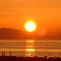 【夕日】当館から見える海に沈む夕日は非日常的!