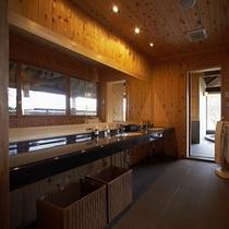 【別荘:悠‐yu‐パウダールーム】*リビングと長い廊下で展望風呂迄つなぐ、パウダールーム。