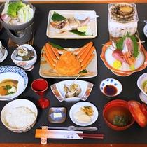 *【夕食:グレードアップ(一例)】スタンダードに「あわび+2品」を加えたちょっぴり贅沢なメニュー。