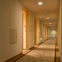 【客室フロア】廊下も落ち着いた雰囲気で、絨毯なので歩く音も響かず静かにお過ごしいただけます