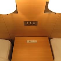【客室一例】枕元コンセント。携帯の充電や目覚まし時計にも。ホテルスタッフの声を取り入れた客室です。