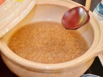 土鍋で茶粥