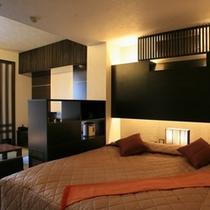 【新館和洋室例】ベッドがダブルタイプのお部屋です♪(部屋指定は出来ませんので、ご了承下さい)