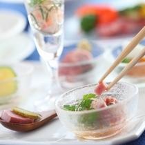 【ディナー例】見て楽しんで食べて「しあわせ〜♪」の冷製のオードブル♪