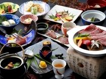 秋の『旬菜会席+飛騨牛ステーキプラン』の一例♪