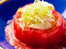 トマトと笹身と胡麻酢和え♪
