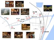 富士見屋と7つの外湯やお勧めスポットの位置概要