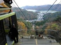 城崎ロープウェイの一例 山頂に近づくにつれ、眼下に温泉街や円山川、またその先には日本海が広がります