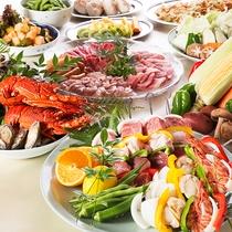 【BBQ】お肉も魚介も楽しめる。新鮮野菜とフルーツもご一緒にどうぞ