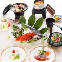 【長崎めぐり会席コース】長崎魚介の陶板焼き&牛フィレステーキ