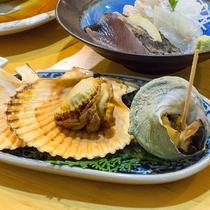 *【夕食一例】季節替わりの魚介類がメインとなります