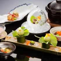 """日本料理本格会席""""せせらぎ""""旬の野菜・魚をお楽しみください(イメージ)"""