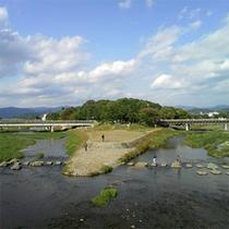 加茂川(左)と高野川(右)