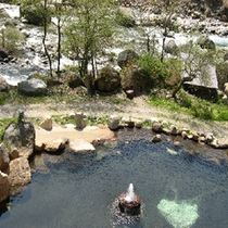 蒲田川も間近の露天風呂(春)