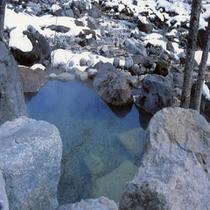蒲田川間近の貸切露天風呂(かじかの湯冬)