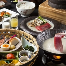 【朝食】和食の一例。焼き魚や煮物などの定番メニューに加え、道産食材を使った豆乳鍋をお召し上がりくださ