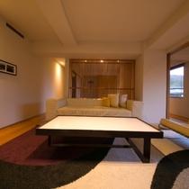 【ラグジュアリースイート和洋室】大切な方と同じ時間や空間を共有することができるよう設計しています。