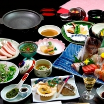 鯛姿造り付料理一例