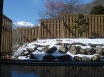 琢磨の湯 冬の露天風呂 乗鞍岳が一望