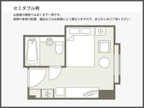 【間取り図】セミダブル例 21平米