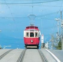 正面から見る路面電車