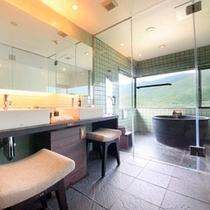 【最上階展望風呂付和洋室~翠苑~】洗面所とバスルーム