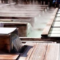 草津温泉の名所「湯畑」です。