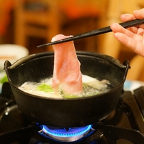 夕食:白馬豚のしゃぶしゃぶアップ
