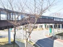 【渡り廊下】当館と「おおの健康の湯」は渡り廊下で繋がっております。