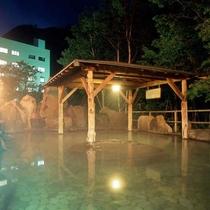 夜の渓谷露天風呂