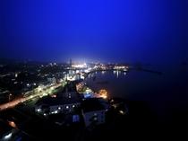 夜の島原外港・島原市街