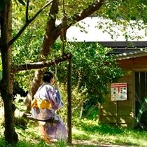 村人手作りのブランコで里山の自然を感じながらひと休み