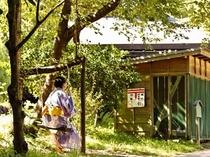 「ブランコ」大きな枝を利用した村人の手作りです。