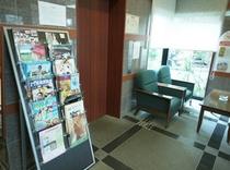 エレベーター横のパンフレット置き場。大分のお出かけ情報満載です!