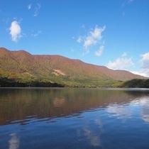 青い空と湖に映える紅葉『青木湖』