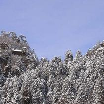山寺の雪景色。当館から車で15分。