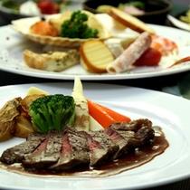 国産和牛ステーキ&和とイタリアンの創作ディナー(一例)