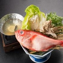 「きんめ鯛のちり鍋」をみのや自家製ぽん酢で頂けます♪『茜の宴』