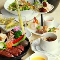 【信州黒毛和牛コース】人気№1プランの、メイン料理が信州黒毛和牛の鉄板焼き
