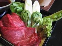 山形牛と庄内産山菜のしゃぶしゃぶ