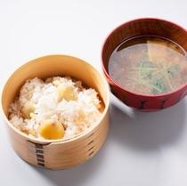 栗ご飯 湯葉の味噌汁2016 四角