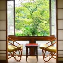 *客室にて天気が良い日は窓を開けて森林浴もお楽しみいただけます。